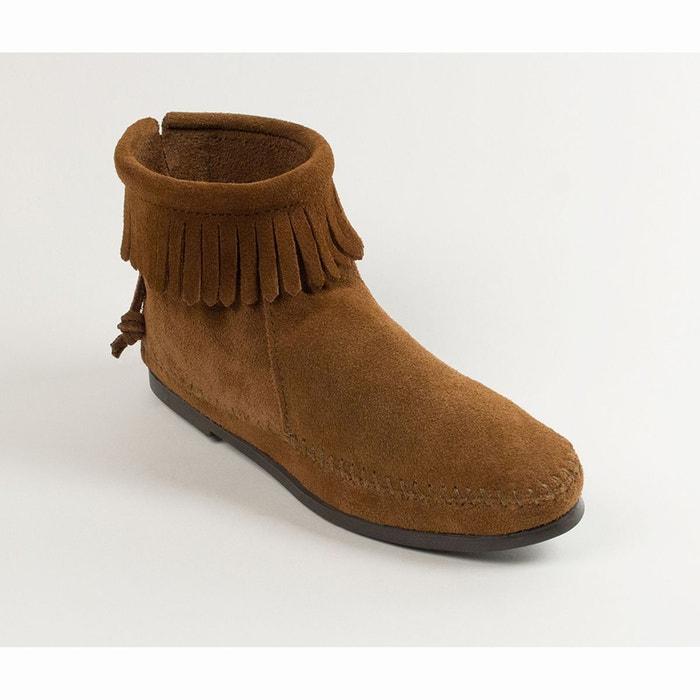 Boots franges, cuir suede marron Minnetonka
