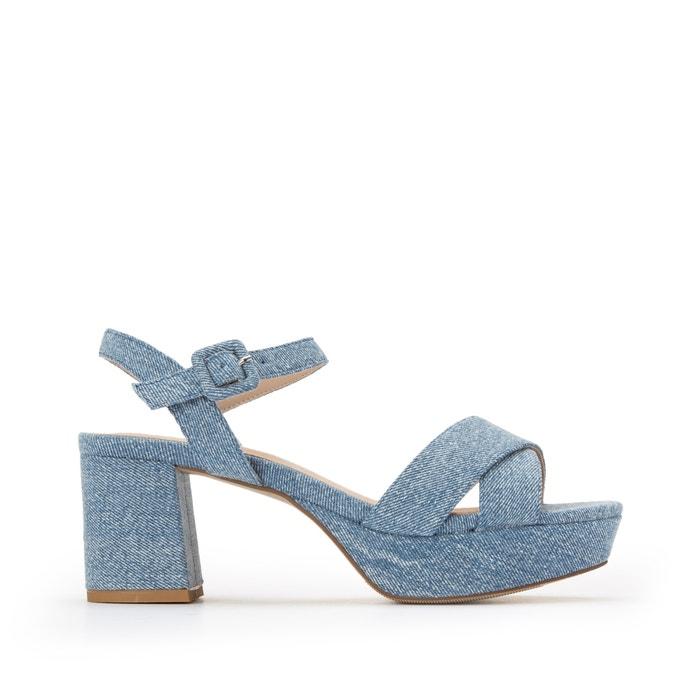 Denim platform sandals , denim, La