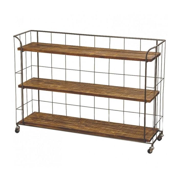 Étagère sur roulettes en bois et métal gris style industriel ...