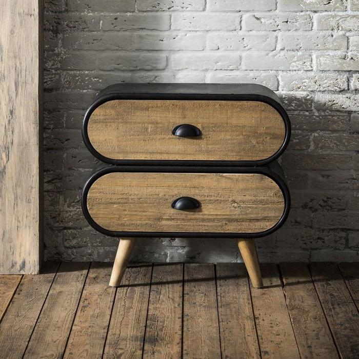 Commode table de chevet contemporaine en bois massif et métal 2 tiroirs  60cm NIAGARA