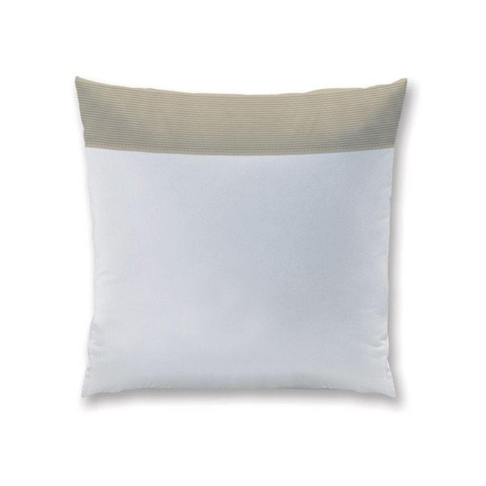 taie d 39 oreiller carr e blanche pliss taupe 100 coton blanc matt et rose la redoute. Black Bedroom Furniture Sets. Home Design Ideas