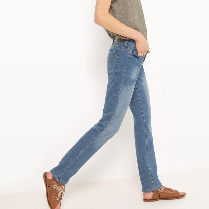 Jean coupe droite taille mi haute denim bleu esprit la - Jean coupe droite taille haute femme ...