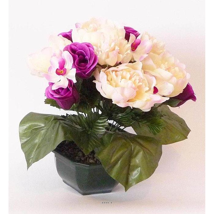 Composition Vasque Rose Pivoine Lestee Pour Exterieur H 32 Cm