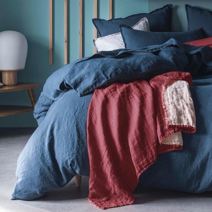 plaid 100 lin lie de vin piquage pois lie de vin blanc cerise la redoute. Black Bedroom Furniture Sets. Home Design Ideas