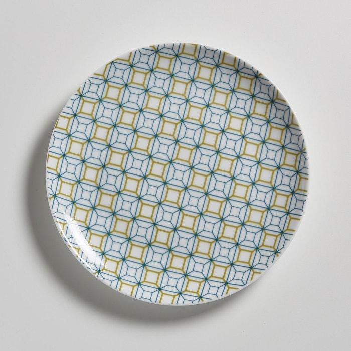 assiette dessert porcelaine lot de 4 imprim la redoute interieurs la redoute. Black Bedroom Furniture Sets. Home Design Ideas