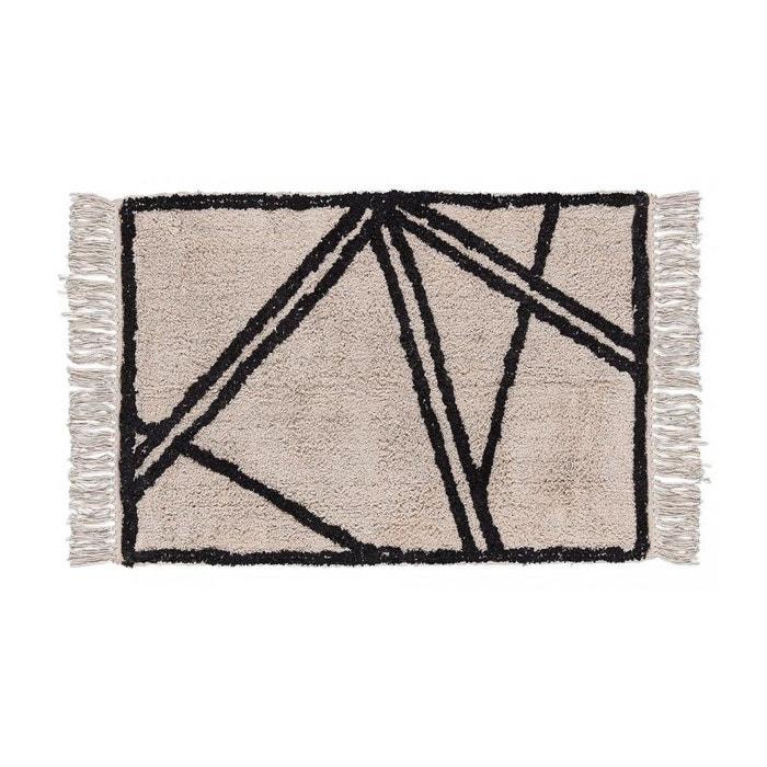 tapis style berb re 100 coton noir et blanc cr me 90. Black Bedroom Furniture Sets. Home Design Ideas