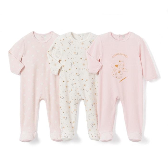 Lote de 3 pijamas de terciopelo 0 meses - 3 años  La Redoute Collections image 0