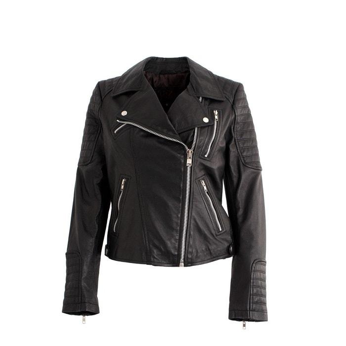 Blouson en cuir femme noir Dks   La Redoute df41d6443ea