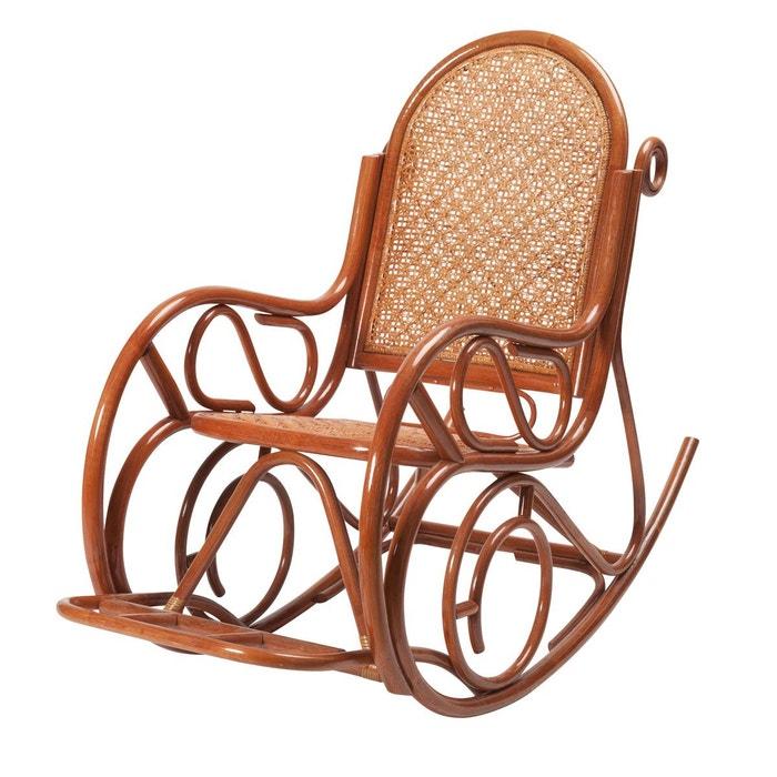 rocking chair evissa en rotin brun ambr rotin design la. Black Bedroom Furniture Sets. Home Design Ideas