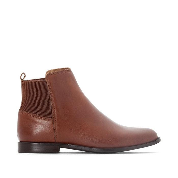 Boots cuir détail élastique La Redoute Collections
