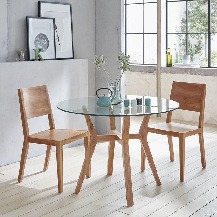 table manger ronde en bois de teck vitr e 4 couverts. Black Bedroom Furniture Sets. Home Design Ideas