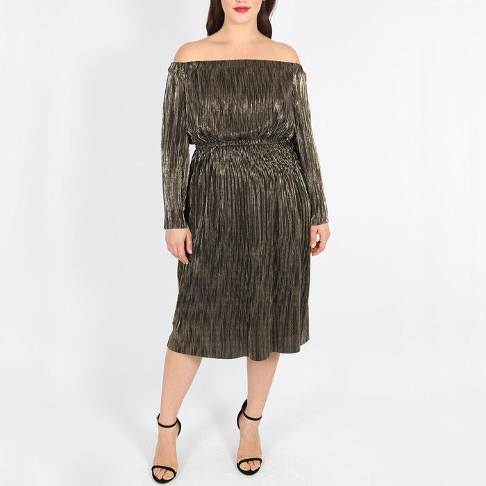 Straight Midi Dress With 3 4 Length Sleeves Bronze Lovedrobe La