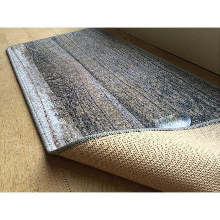 tapis de cuisine motif couverts et fond bois multicolore