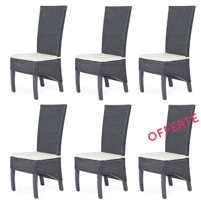 Lot de 6 chaises en fitrit pacific rotin design gris for Lot de 6 chaises en rotin