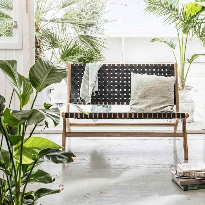 Banc de jardin en acacia finition teck clair et polyester Frame