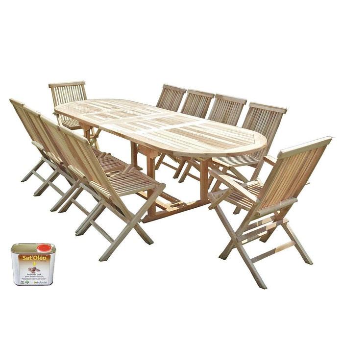 Ensemble salon de jardin en teck henua 8 chaises 2 fauteuils ...