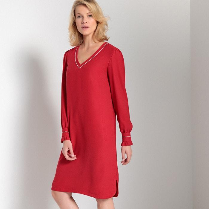 405756c92ef Long-sleeved straight midi dress red Anne Weyburn   La Redoute