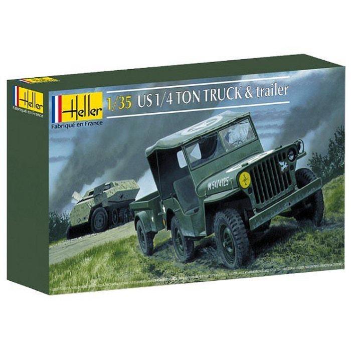 Heller Jeep Modèle Kit HEL81105 Heller 1:3 5 jeep Willis /& Remorque