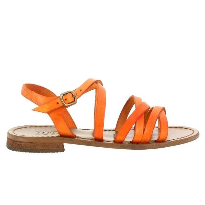 Sandales  /  nu-pieds cuir  orange Iota  La Redoute