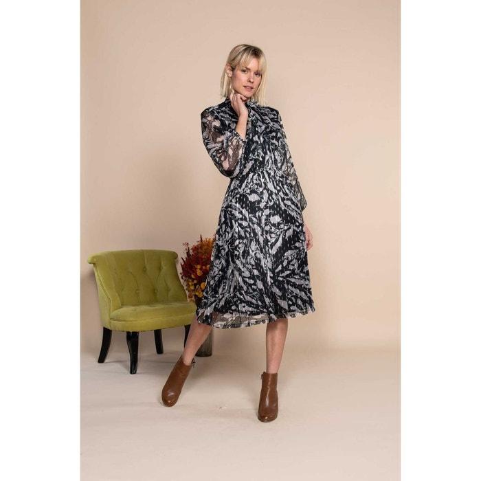 Robe Mi Longue En Mousseline Et Fil Textile Imprimee Noir Et Blanc Noir Derhy La Redoute