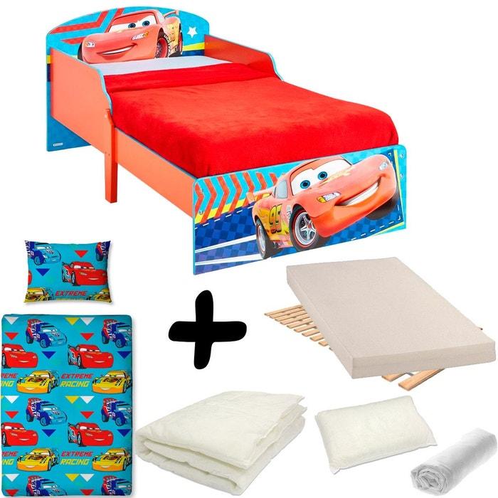 pack complet lit cars flash mcqueen disney lit matelas parure couette oreiller bleu rouge. Black Bedroom Furniture Sets. Home Design Ideas