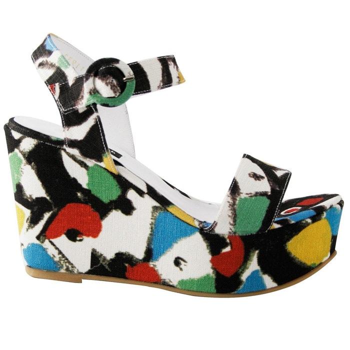Chaussures compensées capri multicolore Exclusif Paris