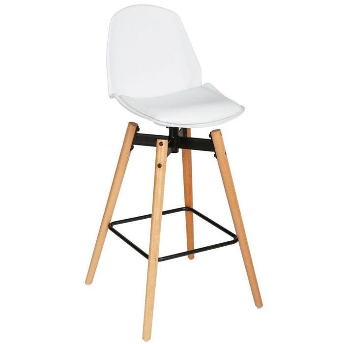 Chaise De Bar Pieds Bois Assise PU Blanc H105cm PIER IMPORT Image 0
