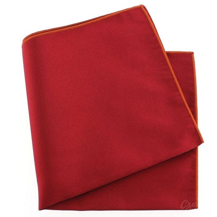 Pochette soie, rouge sangue, ourlet orange rouge Tony Et Paul | La Redoute