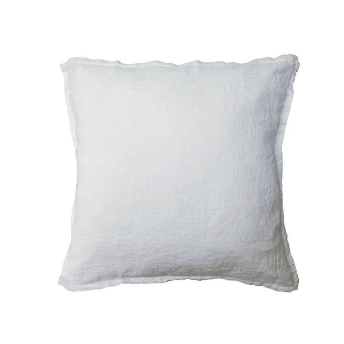 taie d 39 oreiller carr lin lav 52 fils cm uni blanc blanc blanc cerise la redoute. Black Bedroom Furniture Sets. Home Design Ideas