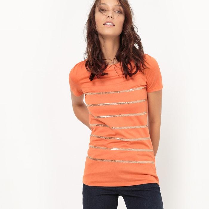 Image Tee-shirt à sequins brodés, col rond La Redoute Collections