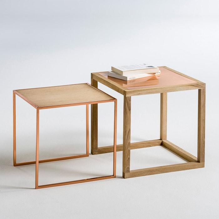 tables basses gigognes ch ne et cuivre elori lot de 2 la redoute interieurs ch ne la redoute. Black Bedroom Furniture Sets. Home Design Ideas