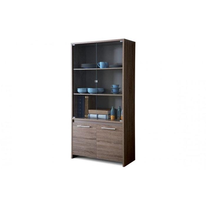 vitrine 2 portes vitr es 2 portes couleur ch ne fonc. Black Bedroom Furniture Sets. Home Design Ideas