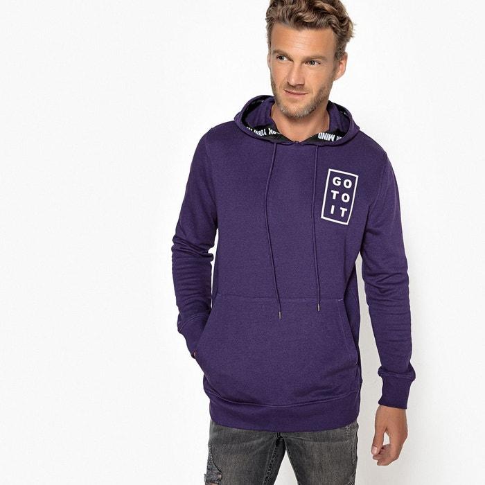 1900d2c3415b Sweat oversize à capuche imprimé, coupe ample violet La Redoute Collections    La Redoute