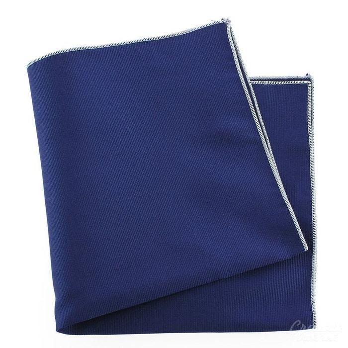Pochette soie, bleu royal, ourlet blanc bleu Tony Et Paul   La Redoute