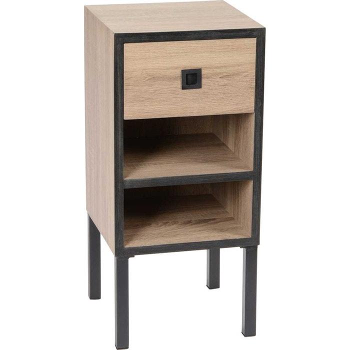 chevet style industriel 1 tiroir 2 niches naturel korb la redoute. Black Bedroom Furniture Sets. Home Design Ideas