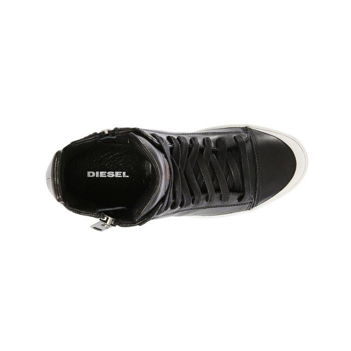 Baskets montantes couture all around noires semelle blanche pour homme noir Diesel