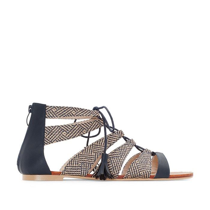 zweifarbige sandalen breite f sse 38 45 marine castaluna la redoute. Black Bedroom Furniture Sets. Home Design Ideas