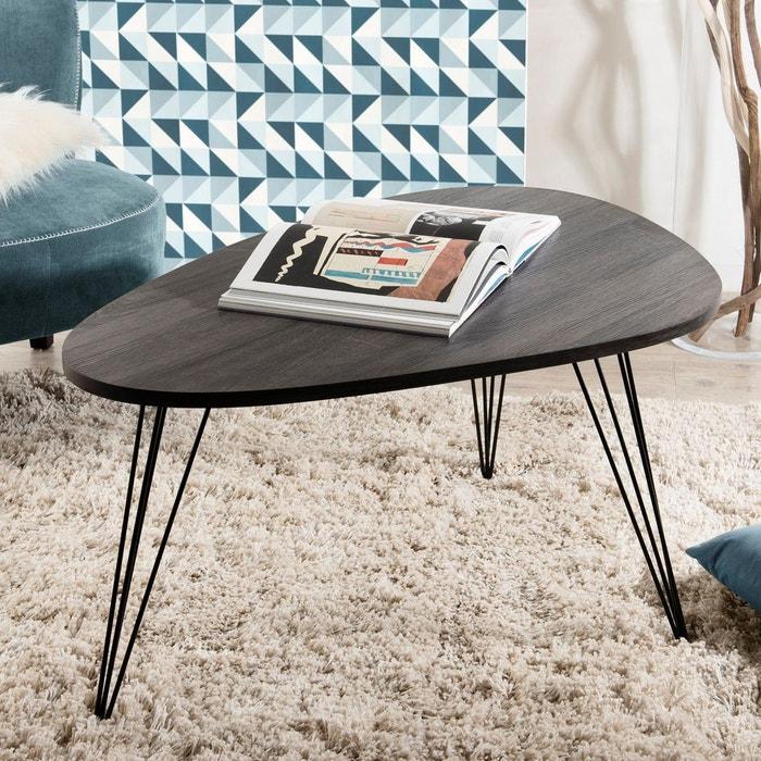 galet bois 97x65cm basse contemporaine Table LANDAISE forme foncé gris pieds épingle 8nwk0OP