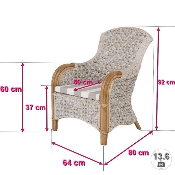 fauteuil en seagrass tressée palermo - rotin design gris clair