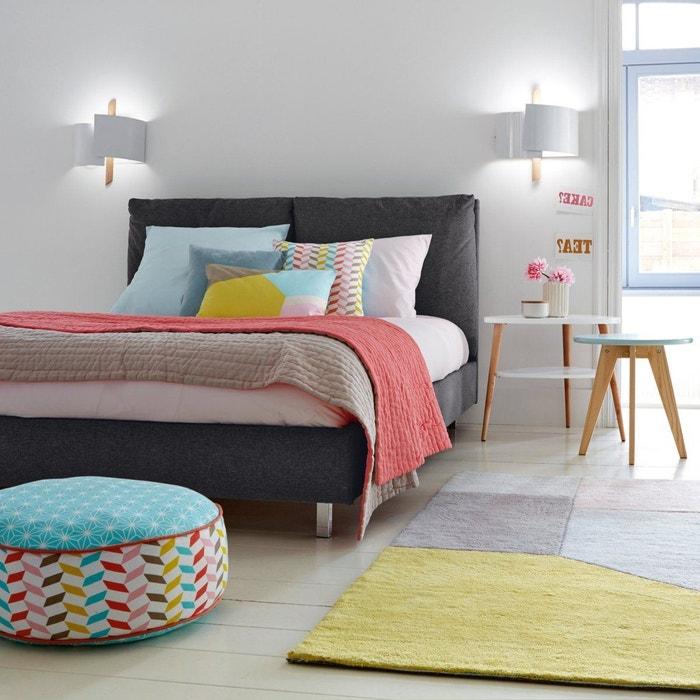 lit avec t te de lit coussins teyo gris la redoute interieurs la redoute. Black Bedroom Furniture Sets. Home Design Ideas