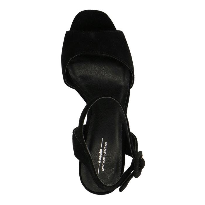 Sandales à talon cubain noir Sacha