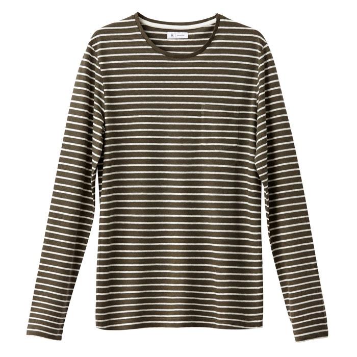 T-shirt maniche lunghe collo rotondo righe mélange lino  La Redoute Collections image 0