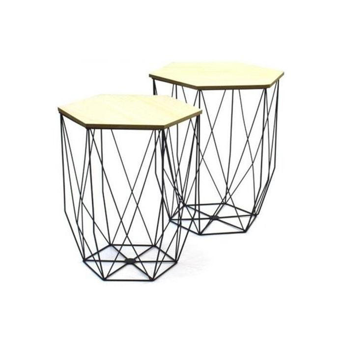 lot de 2 tables gigognes filaires noir boreal noir. Black Bedroom Furniture Sets. Home Design Ideas