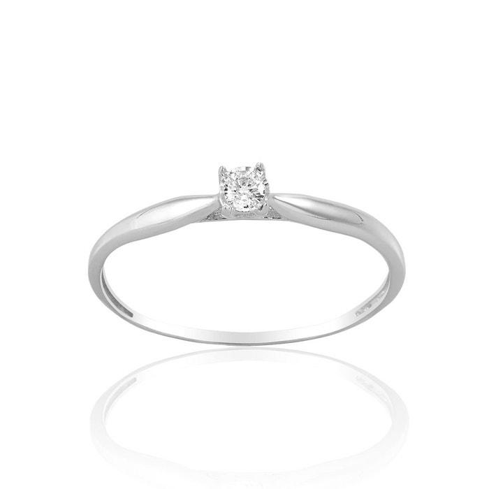 Bague en or 375/1000 blanc et diamant blanc blanc Cleor | La Redoute Afin Sortie Qualité Supérieure Vente En Ligne ensoleillement Qualité Supérieure Vente lR0XCJ