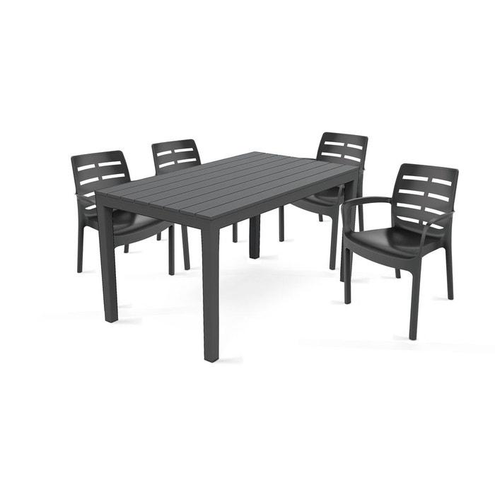 Table de jardin et 4 fauteuils en plastique gris boutique jardin la redoute for Fauteuil salon de jardin la redoute