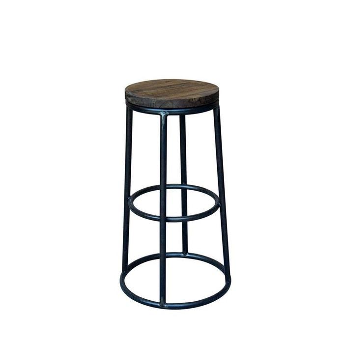 tabouret de bar indus bois m tal fredo bois fonc drawer. Black Bedroom Furniture Sets. Home Design Ideas
