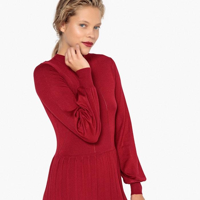 Vestido em malha, saia plissada e detalhes ajurados  La Redoute Collections image 0