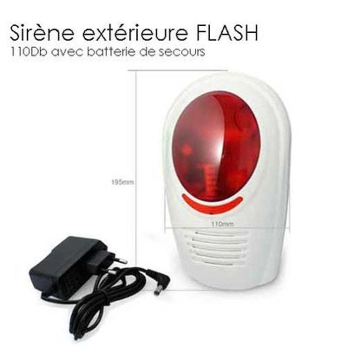 Sirene alarme exterieure gx avec flash couleur unique for Alarme maison securite good deal