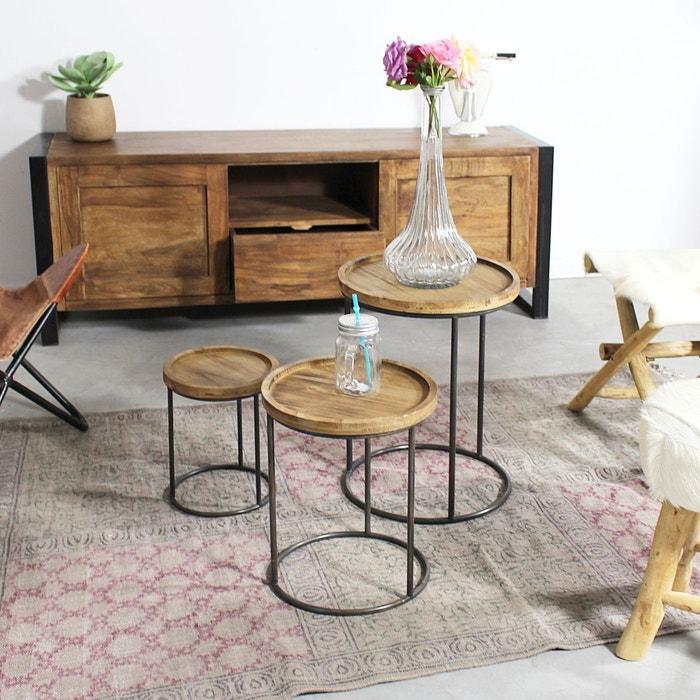 Lot de trois tables basses gigognes kc32 1801 4 marron made in meubles - Table gigogne la redoute ...