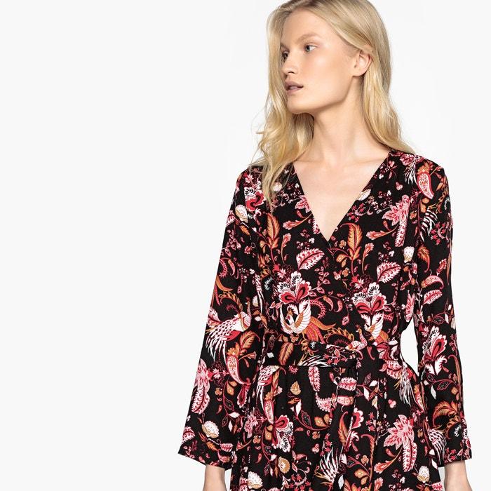 49262d8e84d9 Robe longue croisée devant avec ceinture à nouer imprimé fleur noir VILA